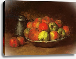 Постер Курбе Гюстав (Gustave Courbet) Still Life with Apples and a Pomegranate, 1871-72