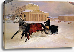 Постер Сверчков Николай Pole Pair with a Trace Horse at the Bolshoi Theatre in Moscow, 1852