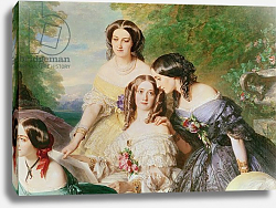 Постер Винтерхальтер Франсуа Empress Eugenie and her Ladies in Waiting, detail, 1855