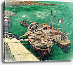 Постер Ван Гог Винсент (Vincent Van Gogh) Landing Stage with Boats, 1888