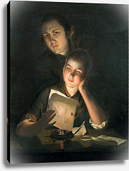 Постер Райт Джозеф A Girl reading a letter by Candlelight, with a Young Man peering over her shoulder, c.1760-2