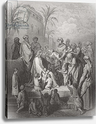 Постер Доре Гюстав Jesus Blessing the Children, illustration from Dore's 'The Holy Bible', engraved by Pannemaker, 1866