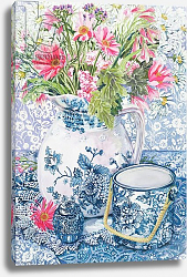 Постер Фивси Джоан (совр) Gerberas in a Coalport Jug with Blue Pots