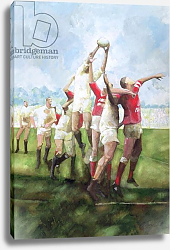 Постер Болл Гарет (совр) Rugby Match: Llanelli v Swansea, Line Out, 1992