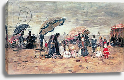 Постер Буден Эжен (Eugene Boudin) Parasols on the Beach, Trouville, 1886