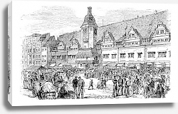 Постер City Hall and market place in Leipzig, Germany, vintage engraving