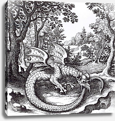 Постер Школа: Русская 17в. A Dragon in the Forest, from 'Musaeum Hermeticum Reformatum' by Basil Valentine, 1678