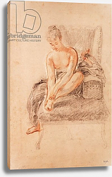 Постер Ватто Антуан (Antoine Watteau) Semi-nude woman seated on a chaise longue, holding her foot