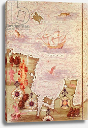 Постер Тестю Гульем (карты) Fol.31v Map of Australia and Magellan Island from 'Cosmographie Universelle', 1555