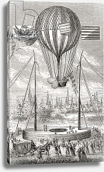 Постер Школа: Французская First flight with a dirigible balloon, from Dijon, 12th of June 1784, 1870