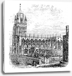 Постер Saint Mary Redcliffe - Anglican church in Bristol, England (United Kingdom). Vintage Engraving from