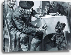 Постер Рейнер Поль Unidentified restaurant scene of man eating soup and another feeding dog