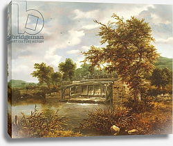 Постер Русдал Якоб A wooded river landscape with a sluice gate