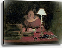 Постер Хант Уильям Girl Writing by Lamplight, c.1850