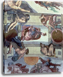 Постер Микеланджело (Michelangelo Buonarroti) Sistine Chapel Ceiling: The Separation of the Waters from the Earth, 1511-12