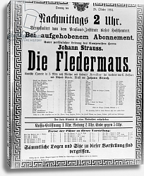 Постер Школа: Австрийская 19в. Poster advertising 'Die Fledermaus' 1894
