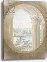 Постер Николле Виктор (грав) View of the Pont Neuf from a Bull's Eye Window of the Louvre, 1810