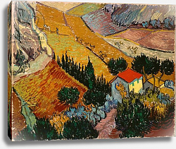 Постер Ван Гог Винсент (Vincent Van Gogh) Landscape with House and Ploughman, 1889