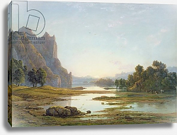 Постер Данби Франсис Sunset over a River Landscape, c.1840