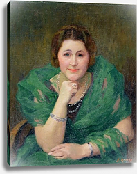 Постер Рену Жюль Portrait of a Russian Woman with a Green Scarf