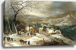 Постер Момпье Жос A Winter Landscape, with Figures on a Road by a Village,