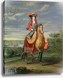 Постер Мартин Жан-Батист La Comtesse de Soissons Riding with a View of the Chateau de Vincennes