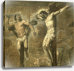Постер Тициан (Tiziano Vecellio) Christ on the Cross and the Good Thief, c.1565