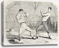Постер Boxing match. Original, from drawing of Benassis and Darjou, published on L'Illustration, Journal Un
