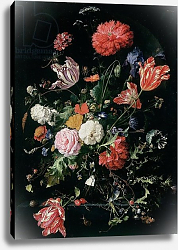 Постер Хеем Ян Flowers in a Glass Vase, c.1660