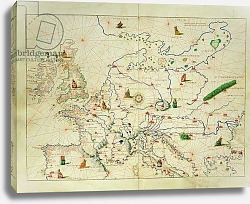 Постер Агнес Батиста (карты) The Continent of Europe, from an Atlas of the World in 33 Maps, Venice, 1st September 1553