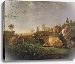 Постер Кьюп Альберт A Distant View of Dordrecht with Sleeping Herdsman and Five Cows, c.1650-52