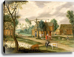 Постер Остен Изак A village landscape with a woman drawing water from a well