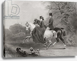 Постер King Edward VII and Alexandra of Denamrk riding in Windsor Great Park England in 1863