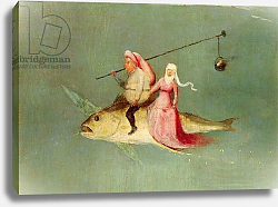Постер Босх Иероним The Temptation of St. Anthony, right hand panel, detail of a couple riding a fish