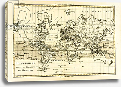 Постер Бонне Чарльз (карты) Map of the World using the Mercator Projection, 1780