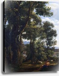 Постер Лоррен Клод (Claude Lorrain) Пейзаж с погонщиком гусей и гусями