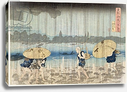 Постер Киниоши Утагава Shower on the Banks of the Sumida River at Ommaya Embankment in Edo, c.1834