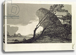 Постер Гойя Франсиско (Francisco de Goya) Landscape with Large Rocks, Buildings and Trees, before 1810