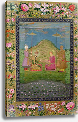 Постер Школа: Индийская 17в. Ms E-14 Humayun and Akbar with a vizier, from a Moraqqa