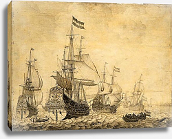 Постер Велде Виллем Старший Dutch war ships at sea