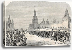Постер Russian Imperial's family Chasseurs parade in front of Moscow Kremlin. Created by Sorieul, published
