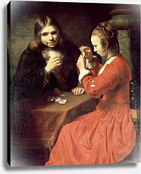 Постер Рембрандт (последователи) A Young Man and a Girl Playing Cards