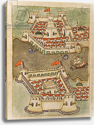 Постер Школа: Венецианская 17в. Ms. cicogna 1971, miniature from the 'Memorie Turchesche' depicting fortresses on the Bosphorus