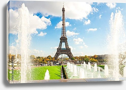 Постер Франция, Париж. Eiffel Tower and fountains of Trocadero