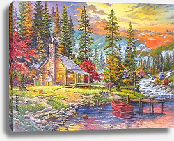 Постер Закат у домика на озере