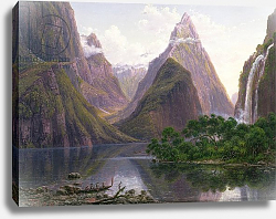 Постер Гурар Евген Canoe at Milford Sound, West Coast of South Island, New Zealand and Bowens Fall, 1892