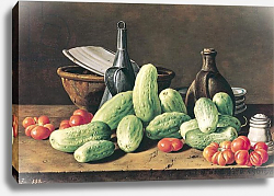 Постер Мелендес Луис Still Life with Cucumbers and Tomatoes