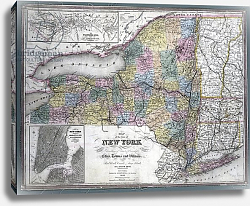 Постер Map of the state of New York, 1850