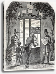 Постер Newspaper kiosk. Created by Gaildrau, published on L'Illustration, Journal Universel, Paris, 1857
