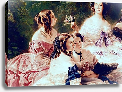 Постер Винтерхальтер Франсуа Empress Eugenie and her Ladies in Waiting, detail, 1855 2